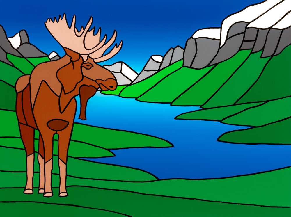 "The Happy Moose At Maligne Lake   40"" x 30"" Acrylic on Canvas  Jason Carter, 2018  SOLD"