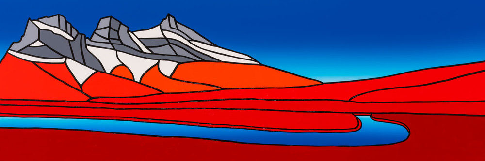 "Three Sisters, Fall   60"" x 20"" Acrylic on Canvas  Jason Carter, 2018  SOLD"