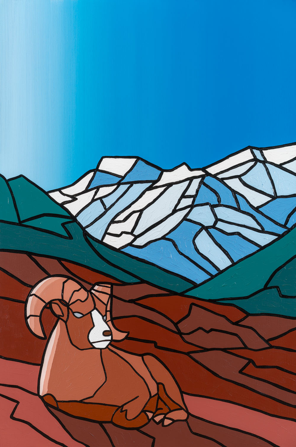 "Resting Ram Mountainside   40"" x 60"" Acrylic on Canvas  Jason Carter, 2012  SOLD"
