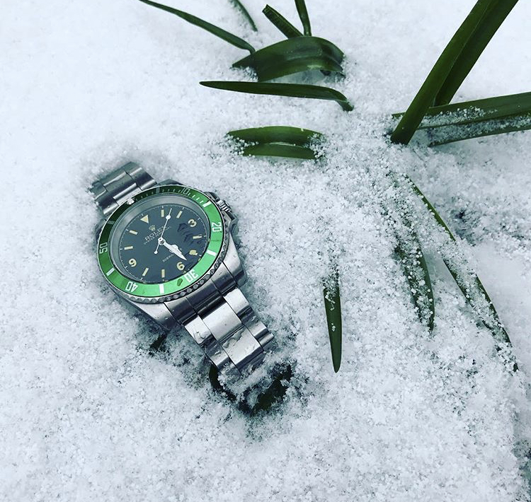 My Rolex Kermit Submariner in the snow. Shot by me on iPhone 7.