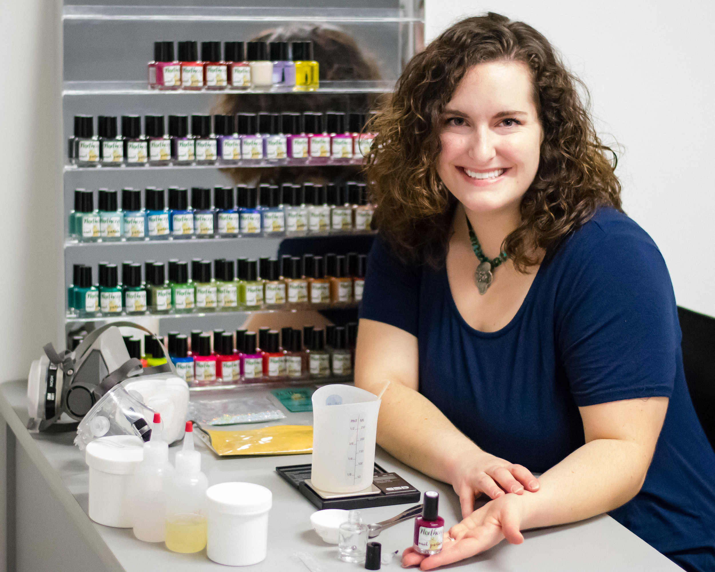 KC Springberg, founder of Northern Nail Polish in her studio creating vegan 10-toxin-free nail polish.