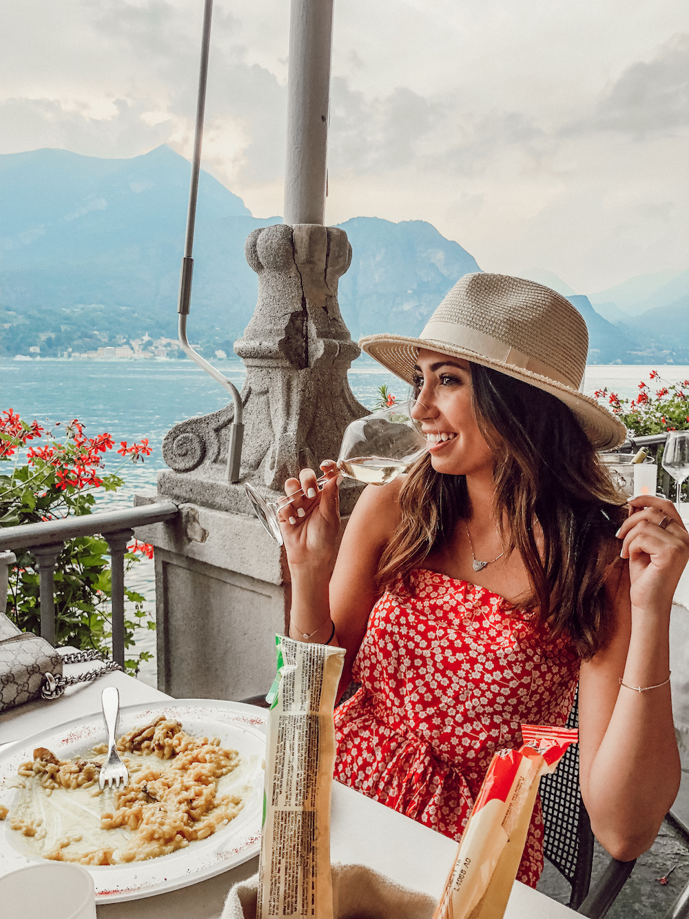 JUST THINKING ABOUT THIS DINNER MAKES ME WANT TO CRY… - A glass of my favourite wine, truffle risotto with fresh parmesan and a view. I'll never forget.