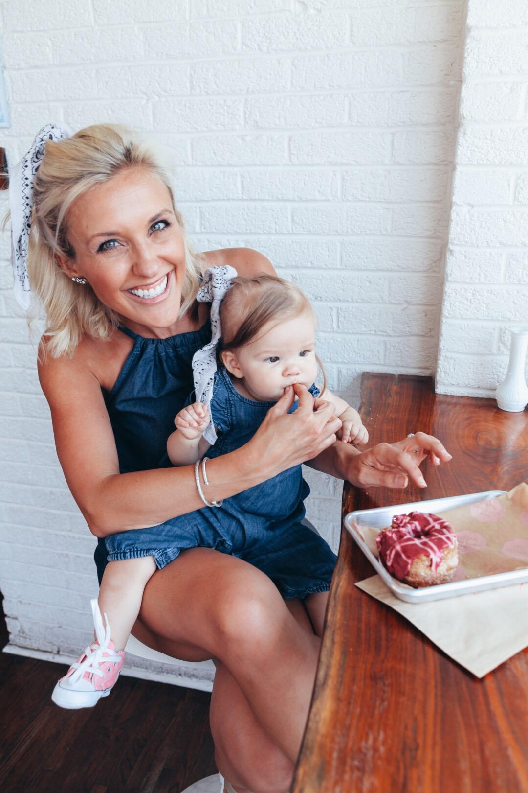 OUTFIT DETAILS:  My Romper  | Bandana  |  Earrings  |  Bracelet |  Bracelet  |  Wedges  |  Sophie Outfit  |  Baby Converses