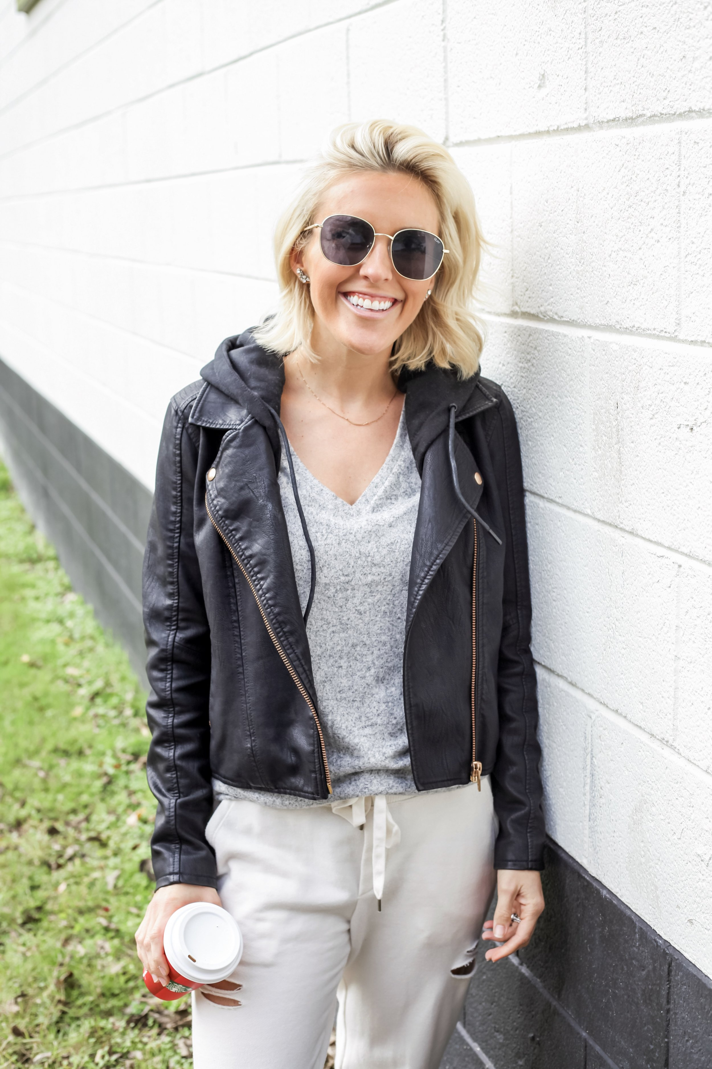 Outfit Details:  Faux Leather Jacket  |  Joggers  |  Sneakers  |  Sunglasses