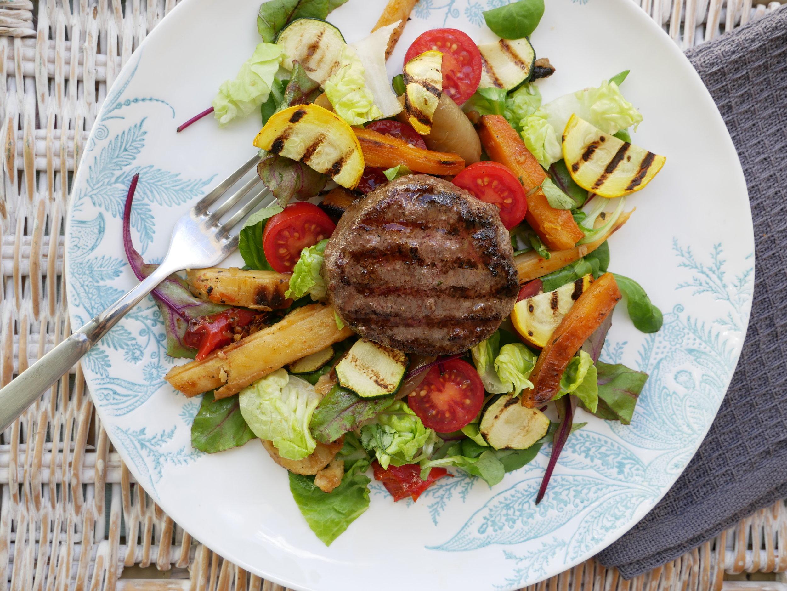 Grilled vegetable burger salad