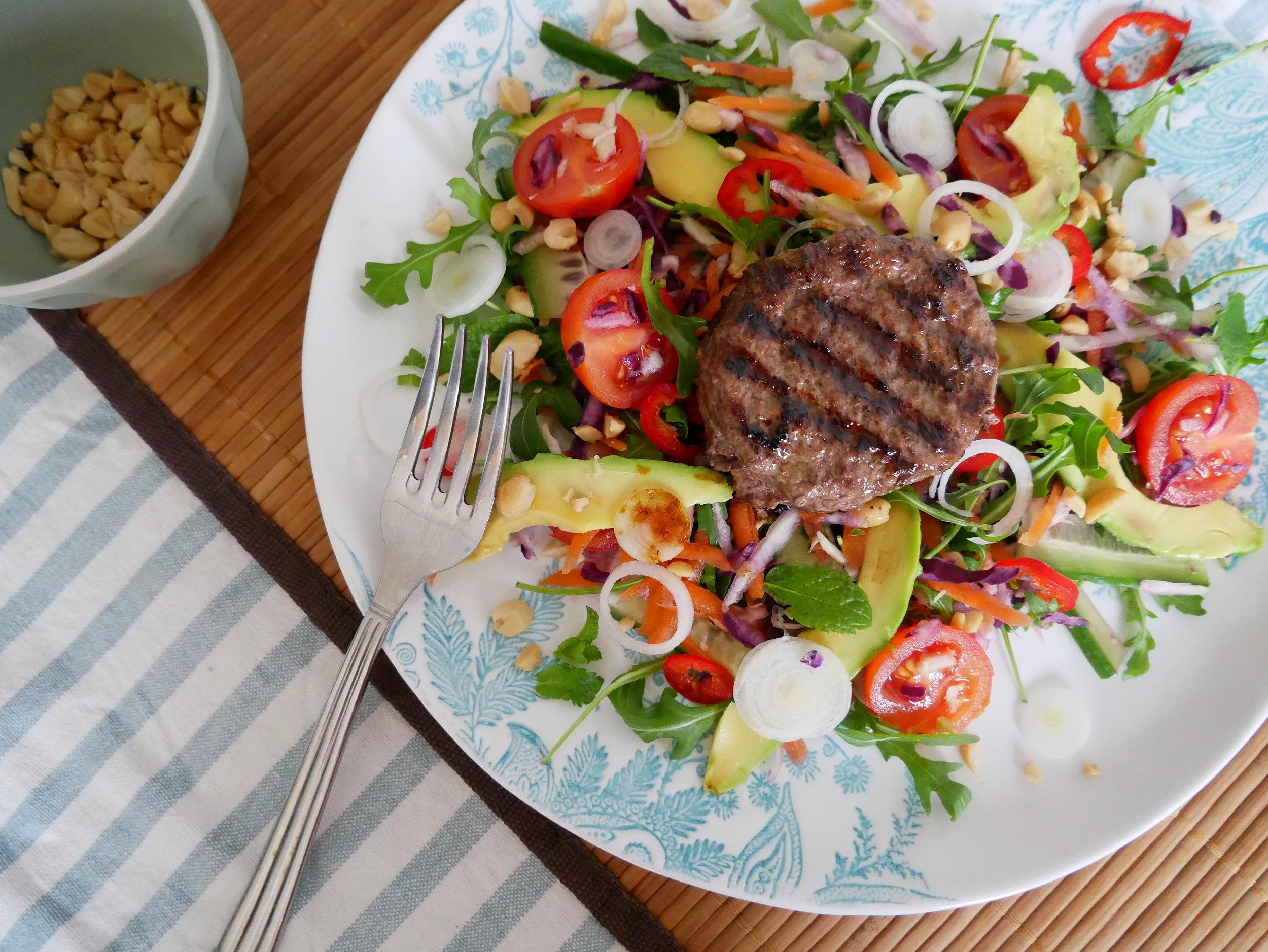 Healthy Thai Burger Salad
