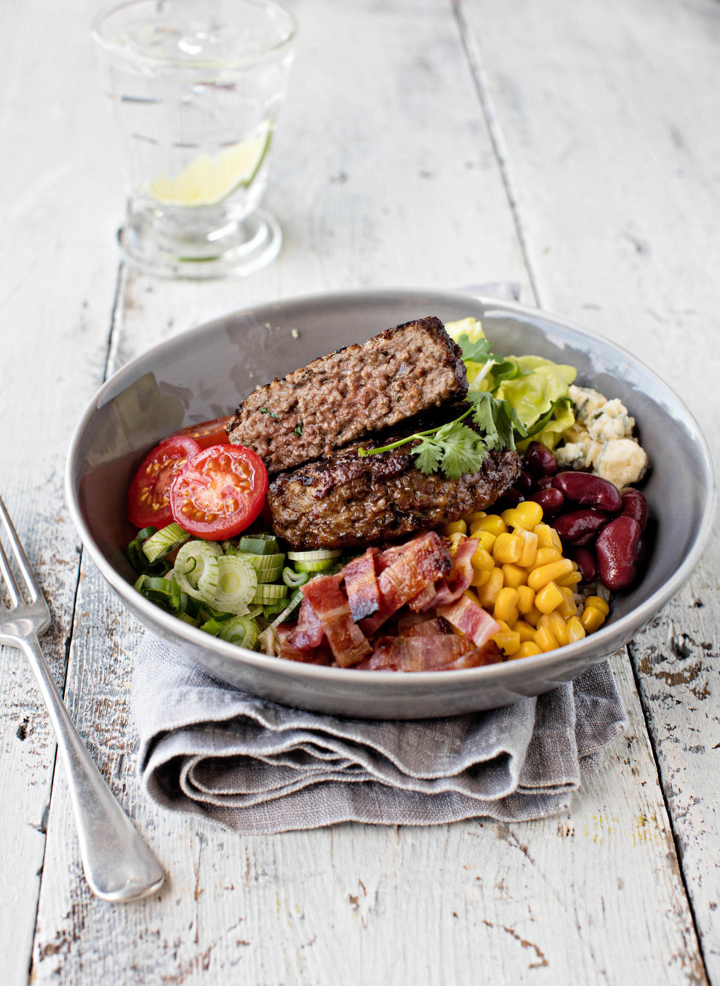 Bacon burger salad bowl