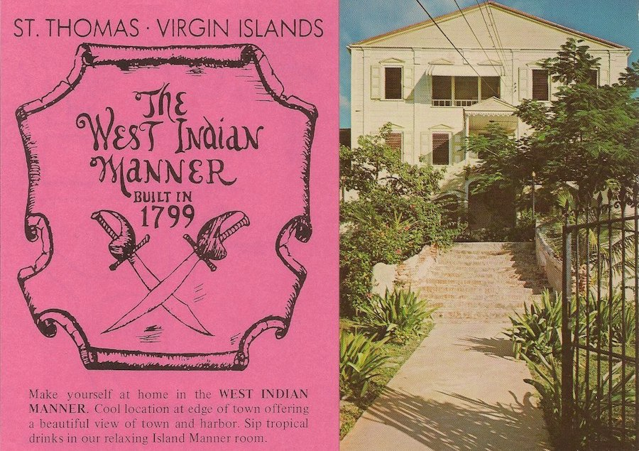 A brochure and picture of The West Indian Manner, a guesthouse I grew up in on St. Thomas, where Dark Paradise is set.