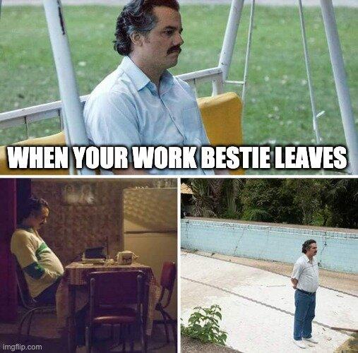 work bestie meme