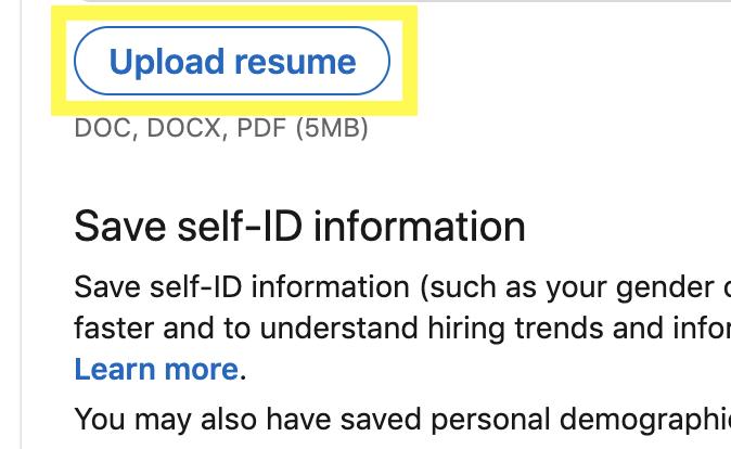 """Step 4.  - Select """"Upload Resume"""""""