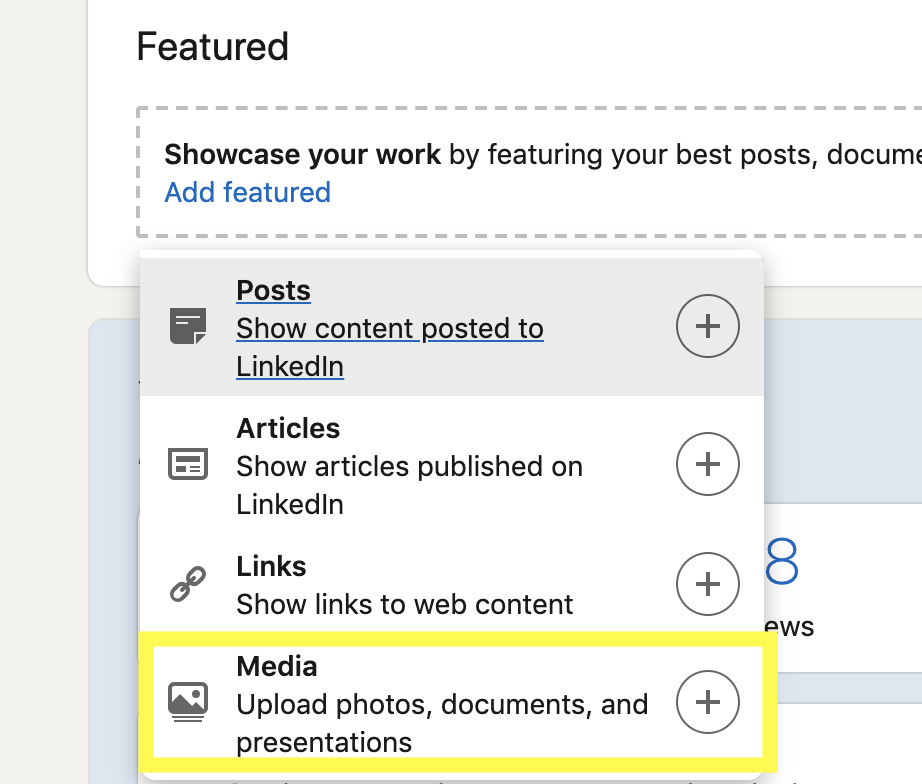 """Step 4.  - Select """"Media"""" and upload your resume"""