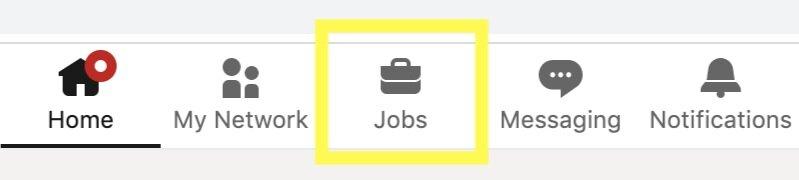 "Step 2.  - Select ""Jobs"" on the top navigation bar"