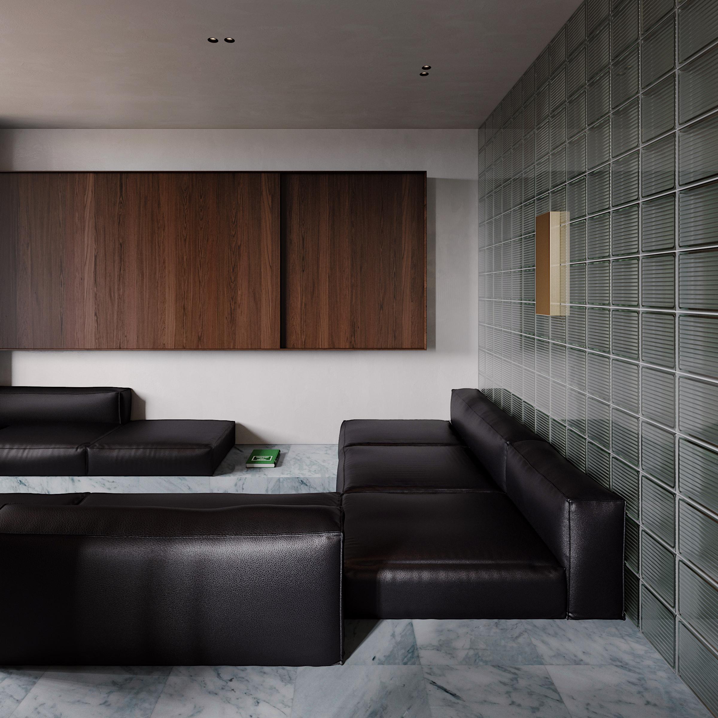 MRBL project Artem Trigubchak leather sofa gass blocks wall marble wood shelf plaster walls