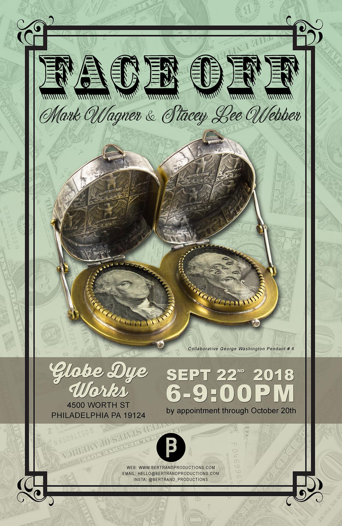 FACEOFF - Artists: Mark Wagner & Stacey Lee WebberOpening Party - Saturday Sept 22, 2018 6-9pmShow Open Sept 22 - Oct 20, 2018Globe Dye Works BuildingPhiladelphia PA USA
