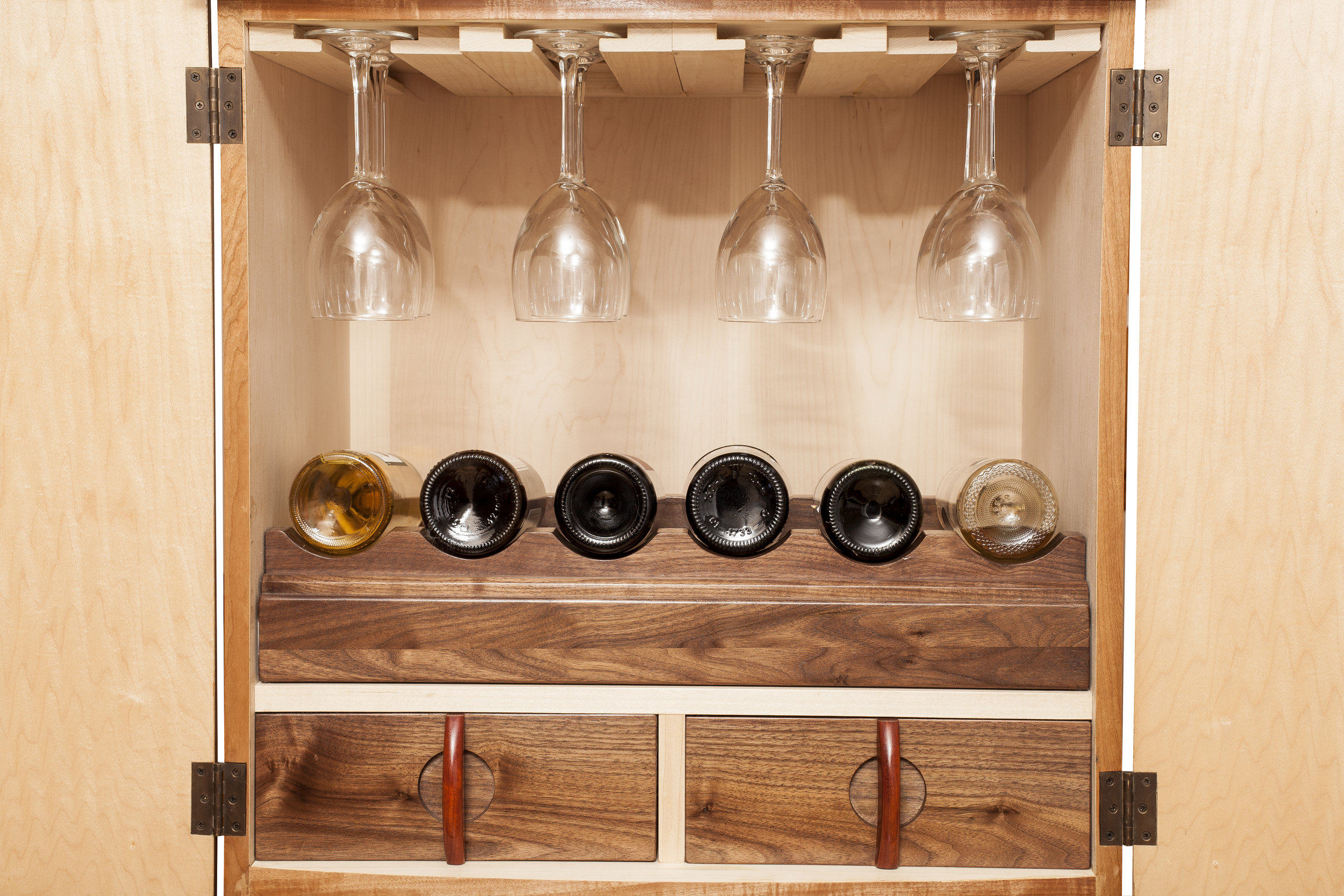 Wine shelf slides out for easier viewing.