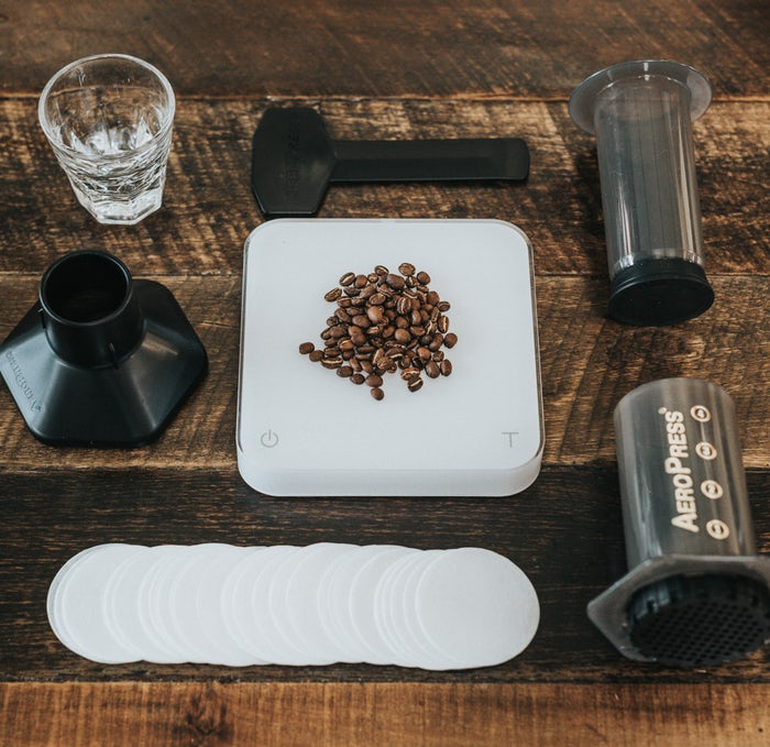 Aeropress featured with a kitchen scale