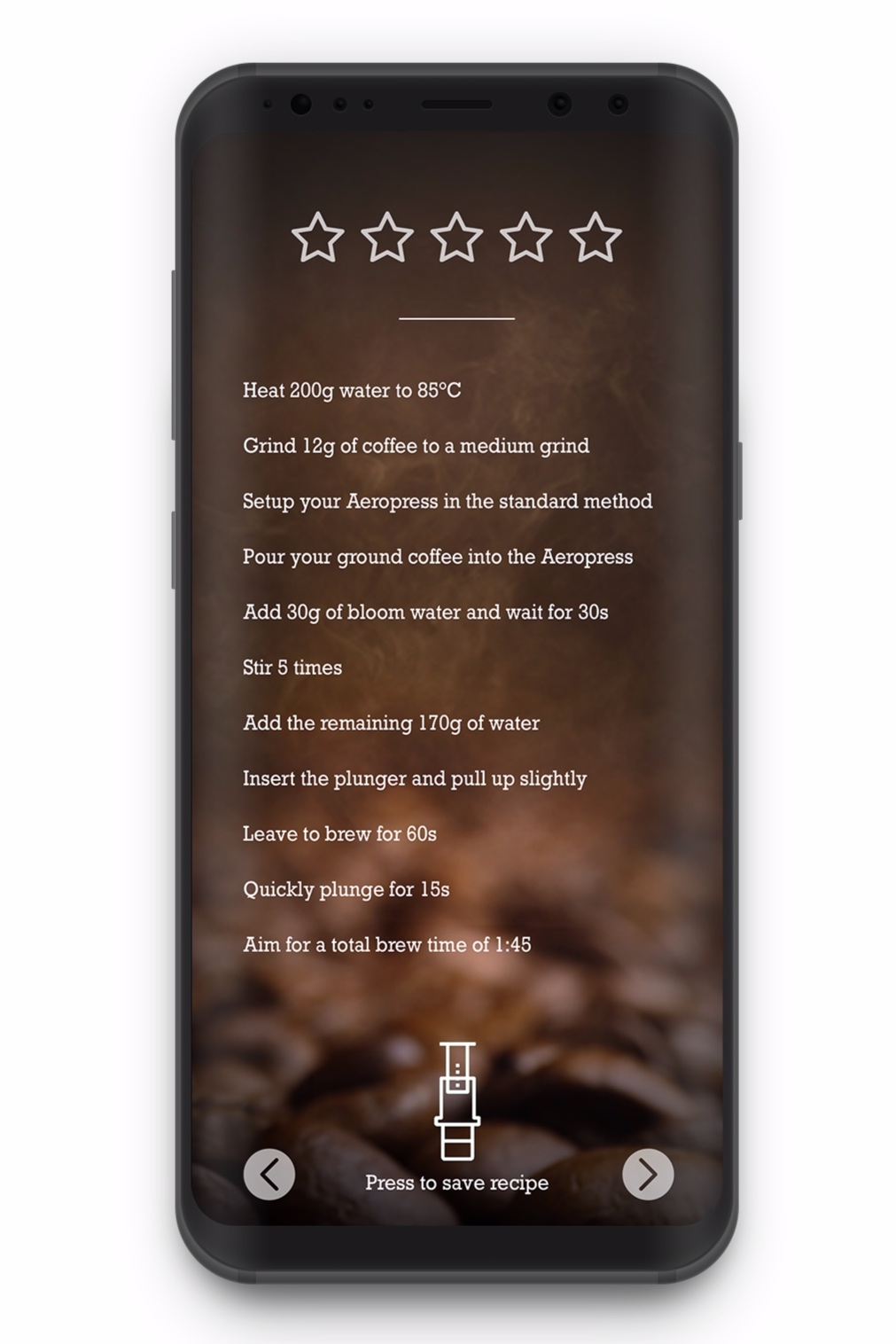 For those ready to level up, an Aeropress app that compiles fan-sourced and World Aeropress Competition winning recipes, letting you bookmark your favorites and even add your own recipes.