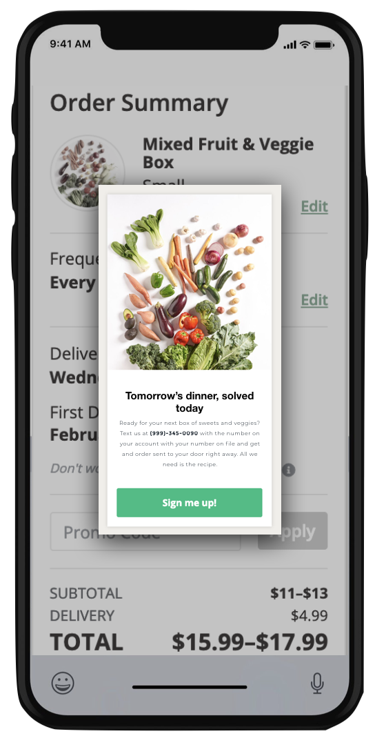 Text-to-order and learn   Imperfect Produce's D2C model is great since most people have a smartphone, but could benefit from an education component.