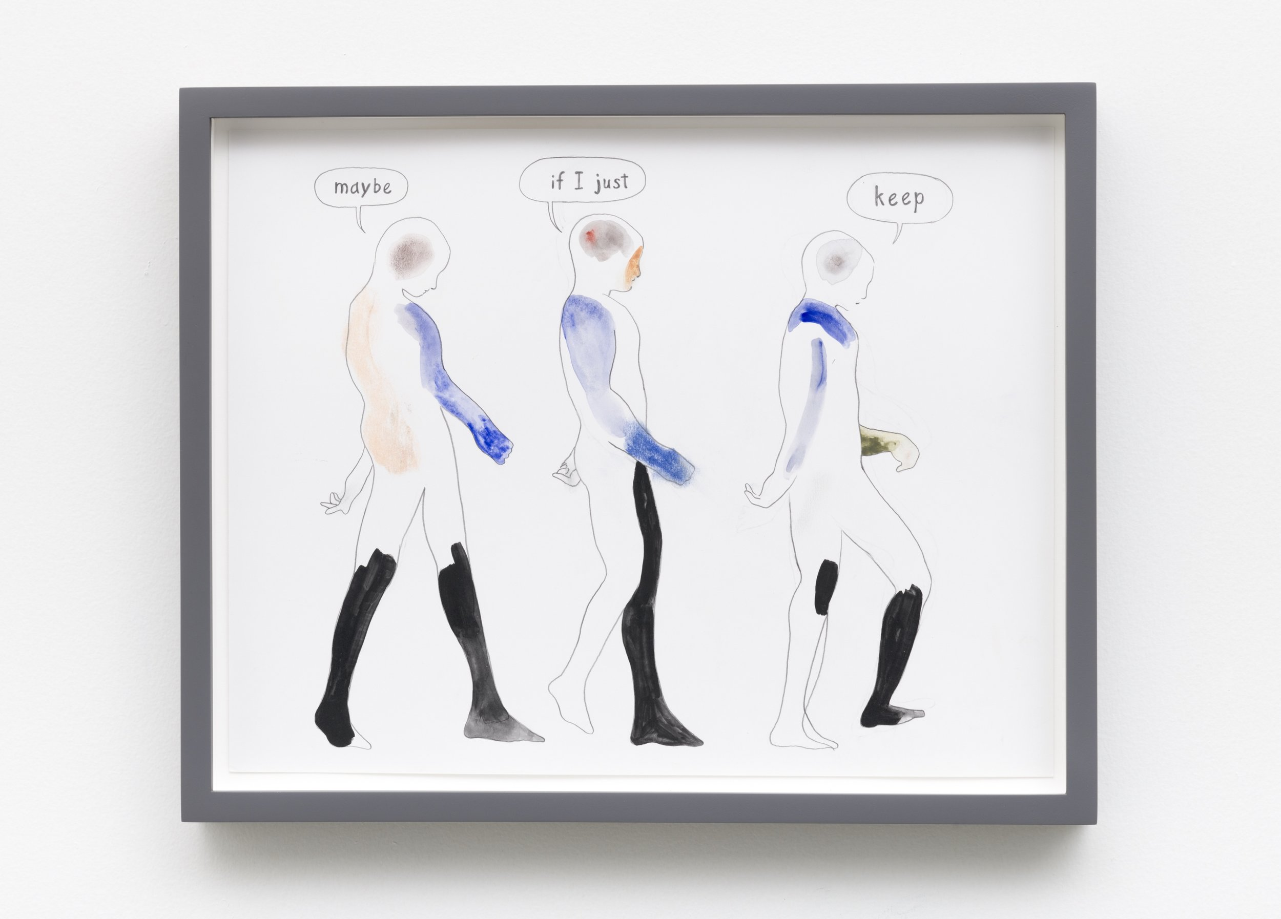 Aidan Koch,  Going , 2019, graphite, gouache, and chalk pastel on paper, 12 ½ × 15 ½ inches (31.8 × 39.4 cm) (framed)