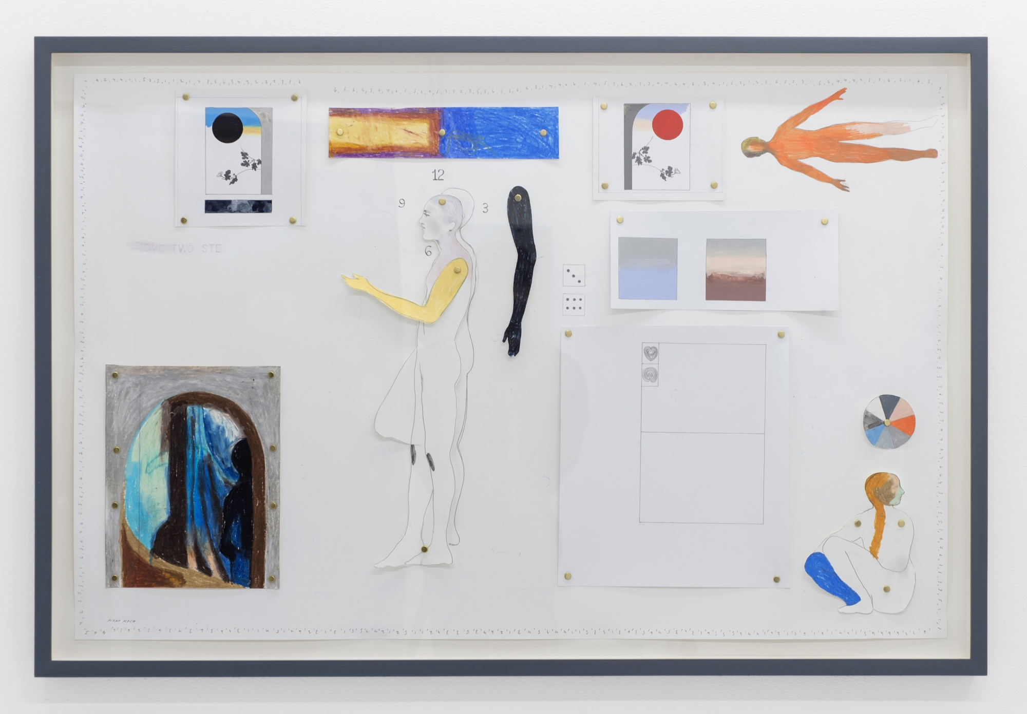 Aidan Koch,  What are the odds? , 2018, color pencil, gouache, graphite, and oil stick on paper, 28 ¾ × 41 ¼ inches (73 × 104.8 cm)