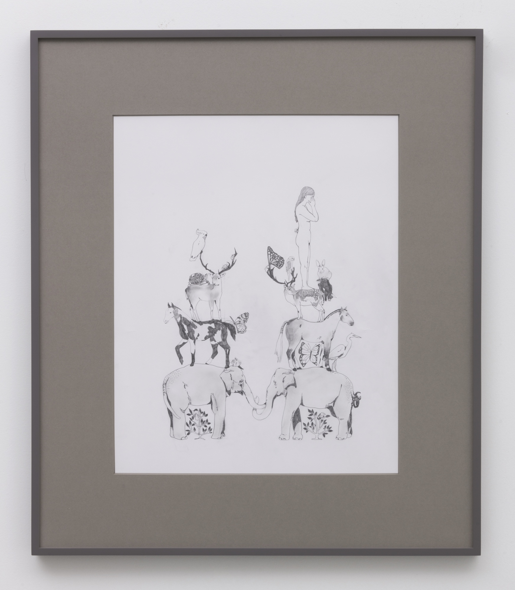 Aidan Koch,  On top , 2017, graphite on paper, 33.6 × 28 ¾ inches (85.3 × 73 cm) (framed)