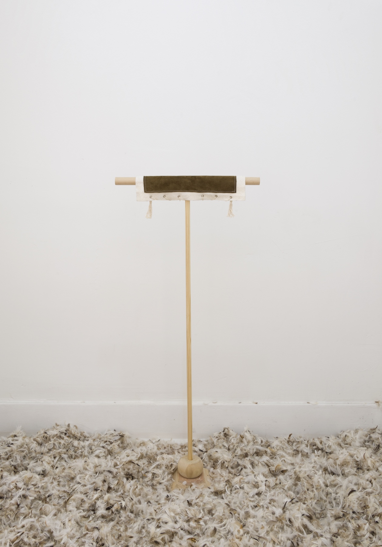 Aidan Koch,  Perch , 2017, wood, leather string, hardware, 5 ¾ × 17 ¾ × 41 ¼ inches (14.6 × 45.1 × 104.8 cm)