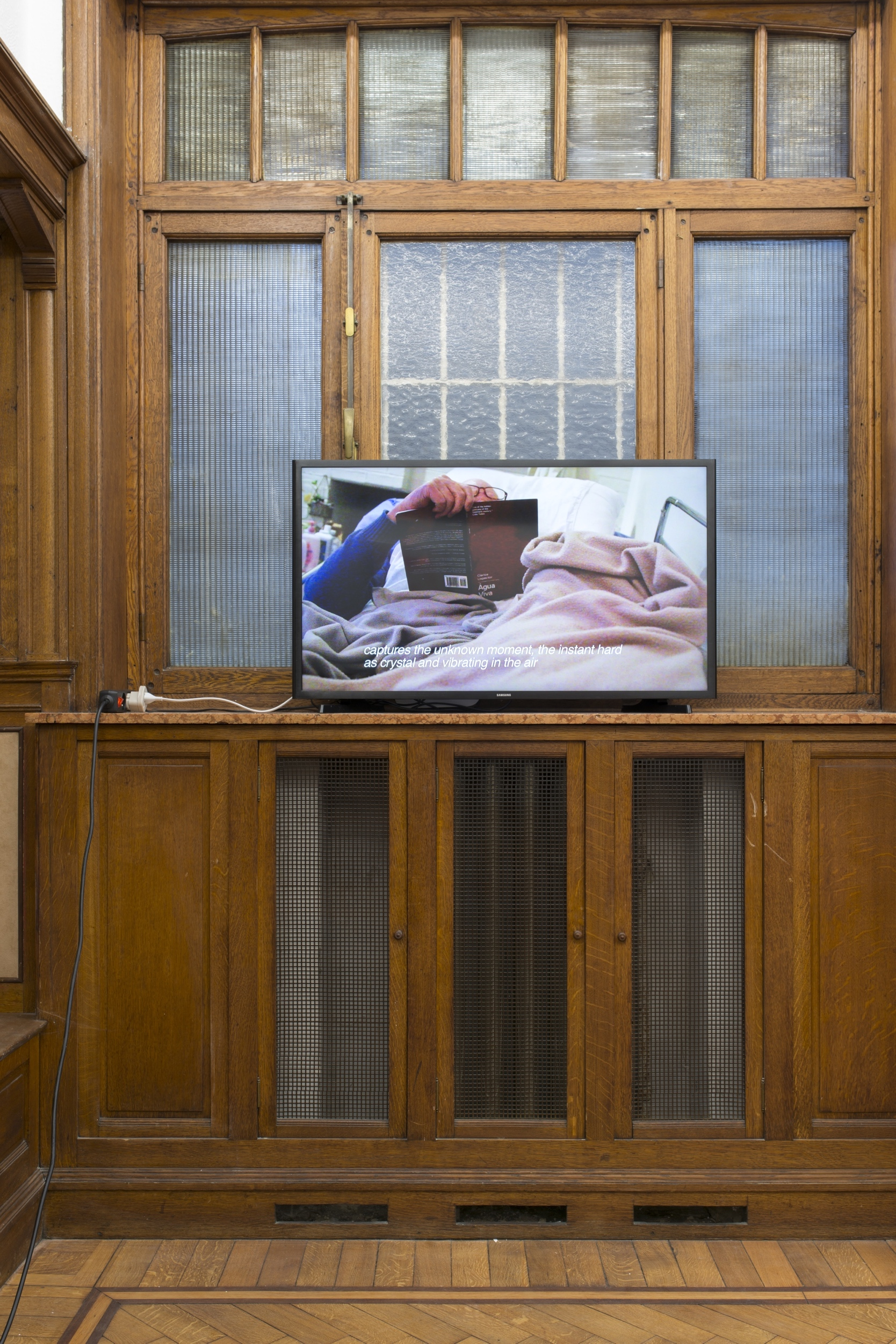 "Dylan Mira, untitled   (Água Viva), installation view, 2013 Single channel HD video, color, stereo sound TRT 12:30 ""The Earth Axis Tilt Shifts,"" Park View/Paul Soto, Brussels, 2018"