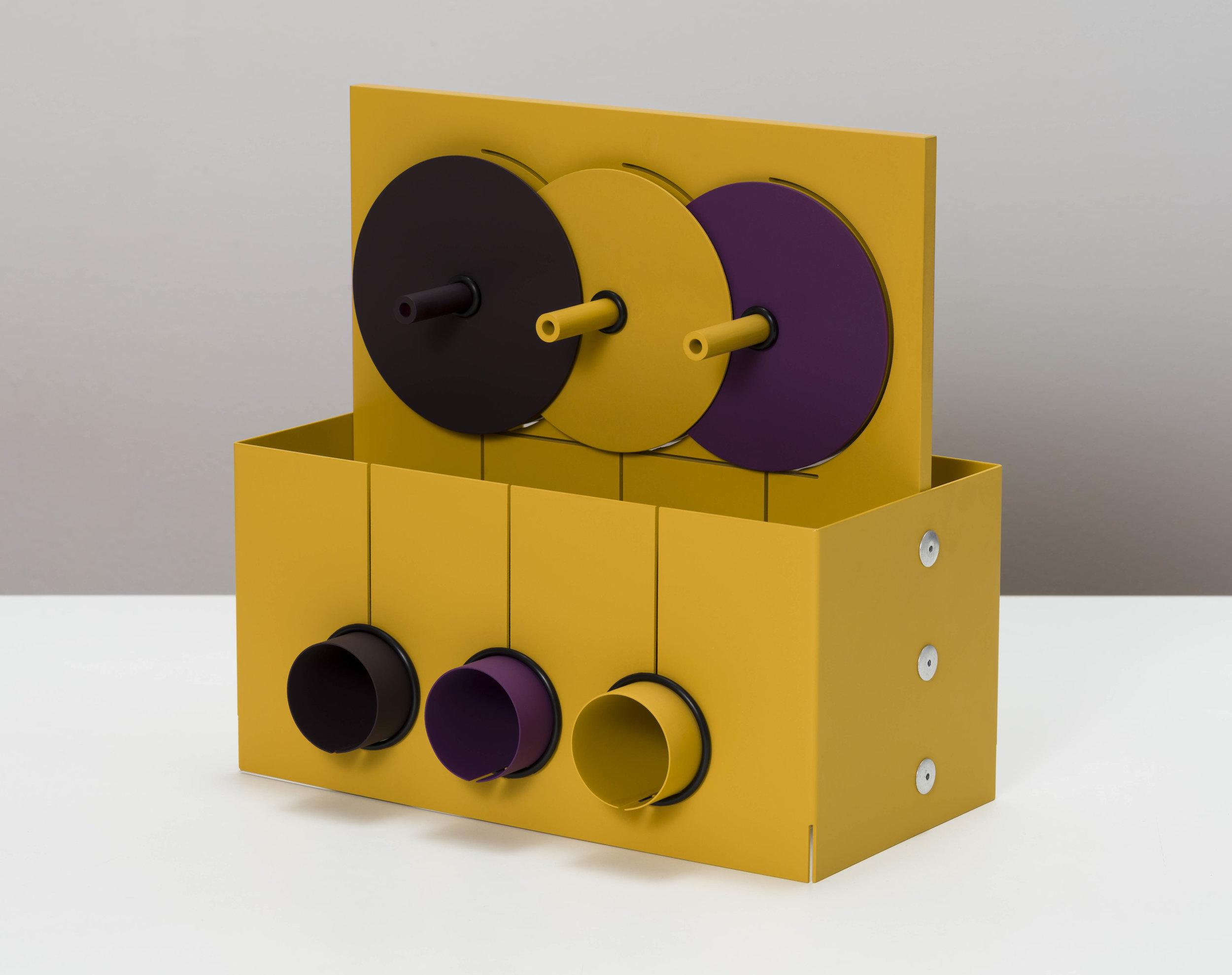 Matt Paweski,  Grape Pulley , 2019, aluminum, aluminum rivets, rubber o-rings, vinyl paint, 12 × 12 × 6 inches (30.5 × 30.5 × 15.2 cm)