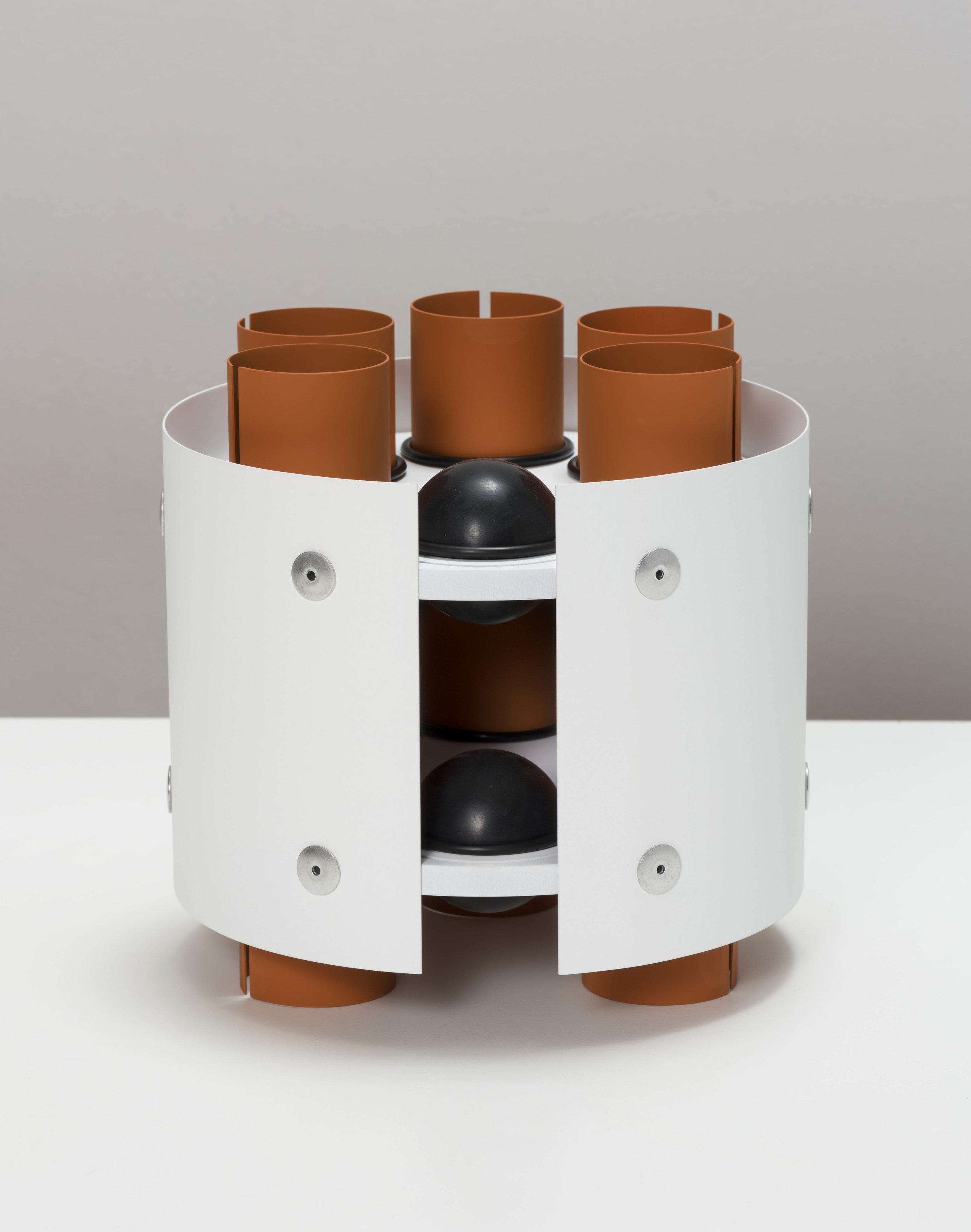 Matt Paweski,  Rotary - 5/6 , 2019, aluminum, aluminum rivets, rubber o-rings, rubber plugs, vinyl paint, 7 × 8 × 8 inches (17.8 × 20.3 × 20.3 cm)