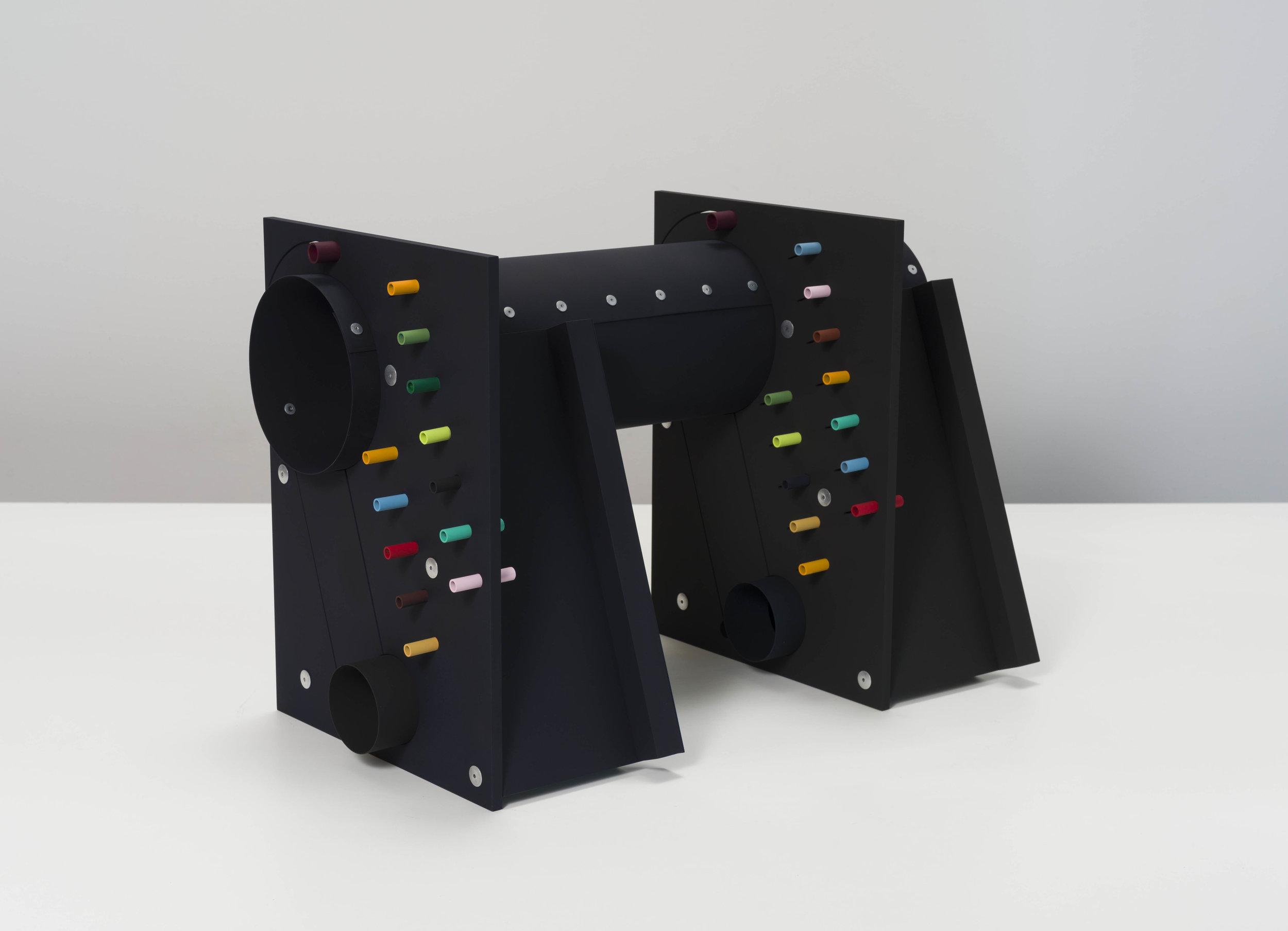 Matt Paweski,  Switch - Switch , 2018, aluminum, aluminum rivets, vinyl paint, 18 × 24 × 12 inches (45.7 × 60.9 × 30.5 cm)