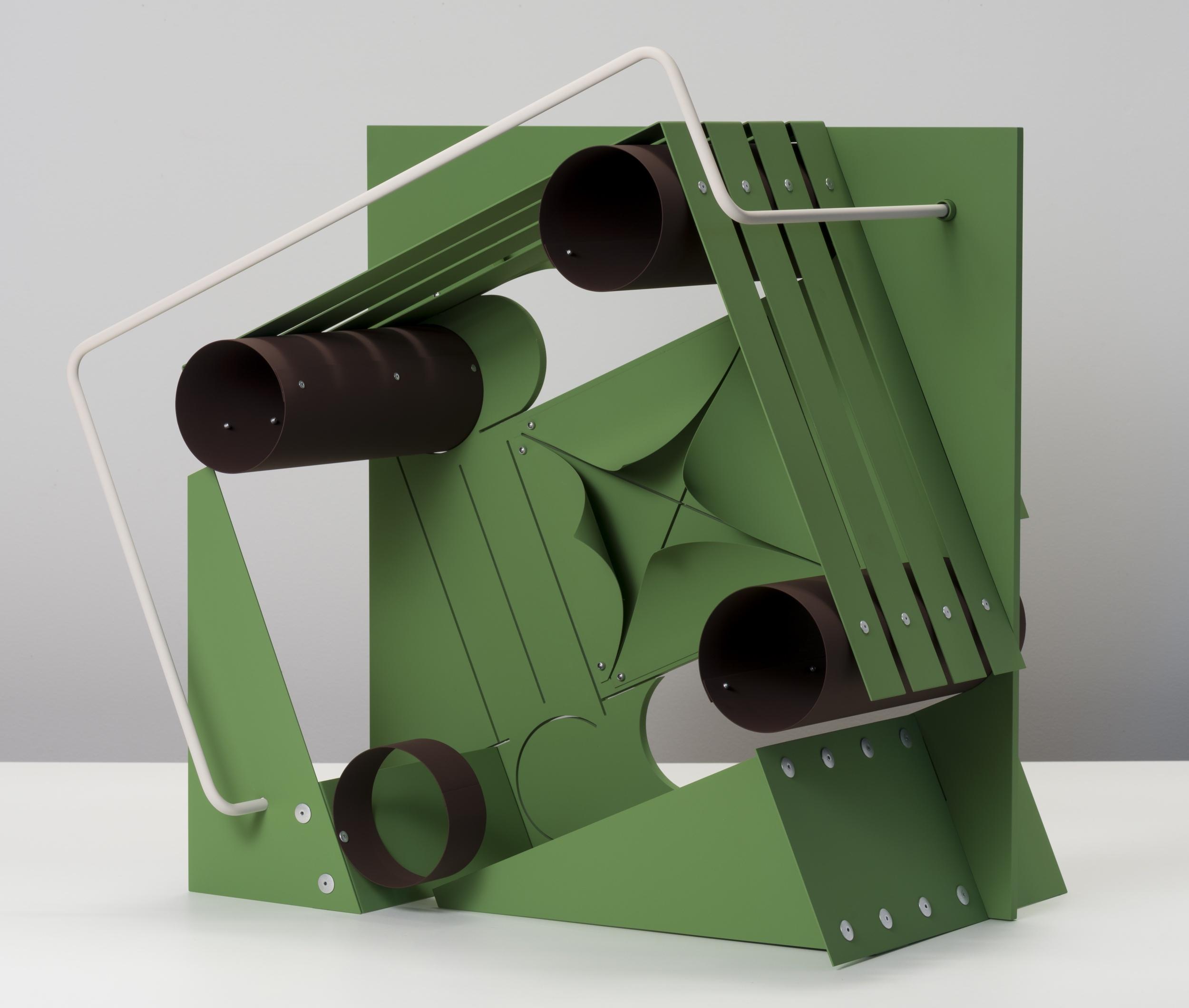 Matt Paweski, untitled   (Machines - oxide green, brown, rose), 2018, aluminum, aluminum rivets, vinyl paint, 26.5 x 24.5 x 17.5 inches (67.3 x 62.2 x 44.5 cm)