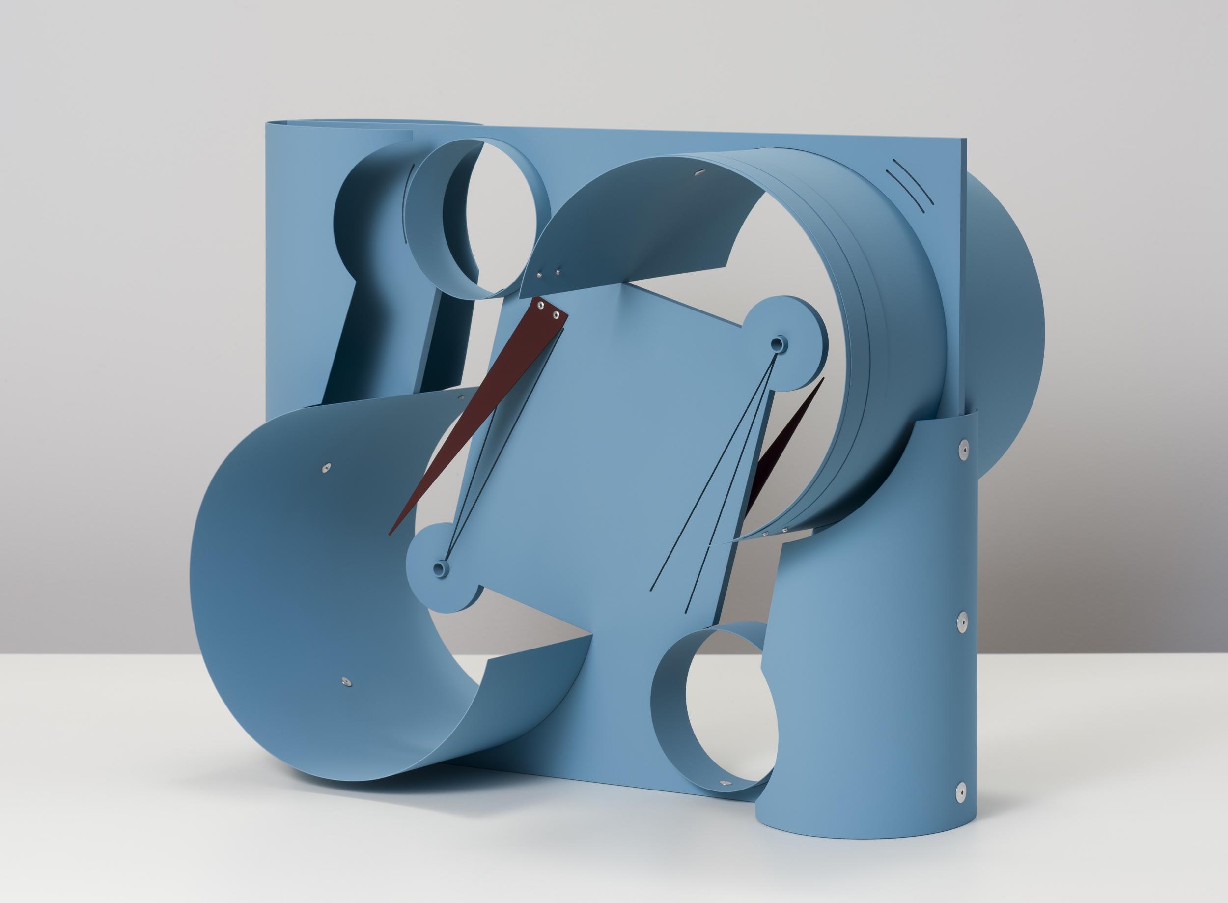 Matt Paweski, untitled (Machines - pale blue, maroon), 2018, aluminum, aluminum rivets, vinyl paint, 20 x 24 x 12 inches (50.8 x 60.9 x 30.5 cm)