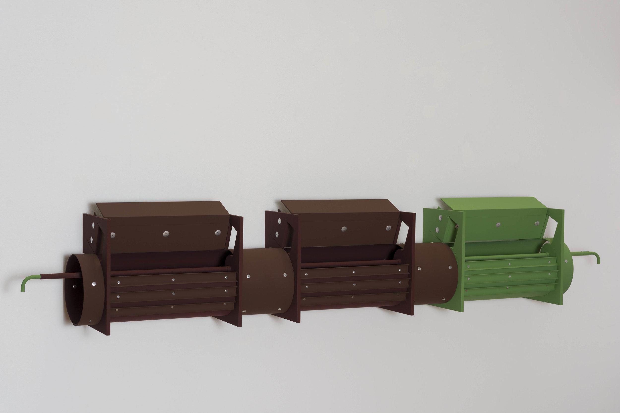 Matt Paweski,  Fountain , 2018, aluminum, aluminum rivets, vinyl paint, 14 × 78 × 8 inches (35.6 × 198.1 × 20.3 cm)