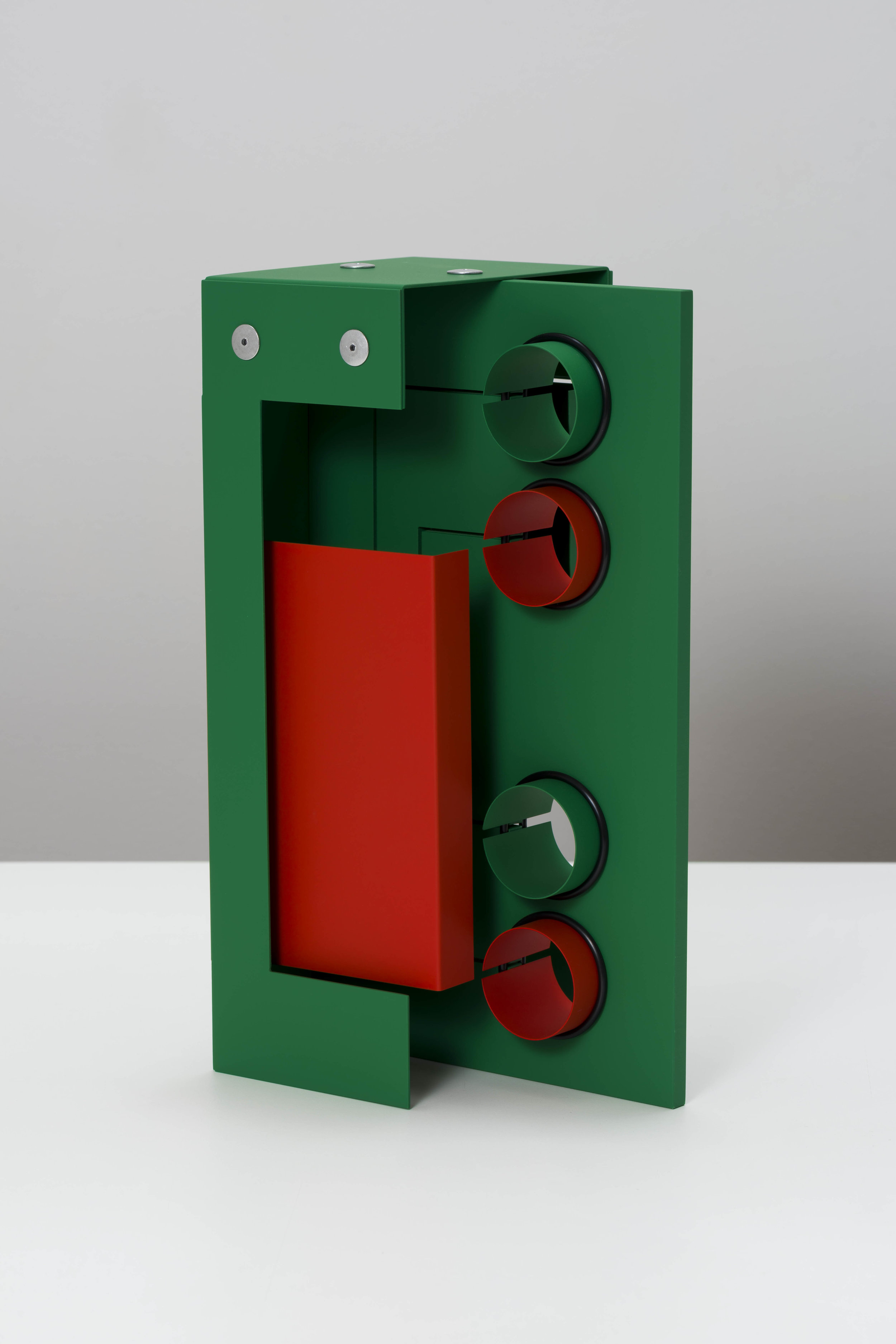 Matt Paweski,  Circuit (Hot) , 2019, aluminum, aluminum rivets, rubber o-rings, vinyl paint, 12 × 18 × 6 inches (30.5 × 45.7 × 15.2 cm)