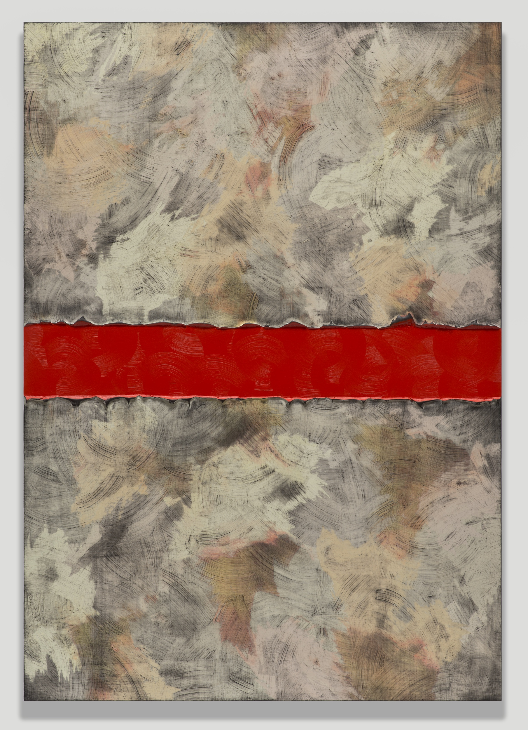 Alex Olson,  Proposal 18 , 2013, oil and modeling paste on linen, 61 x 43 inches (154.9 x 109.2 cm)
