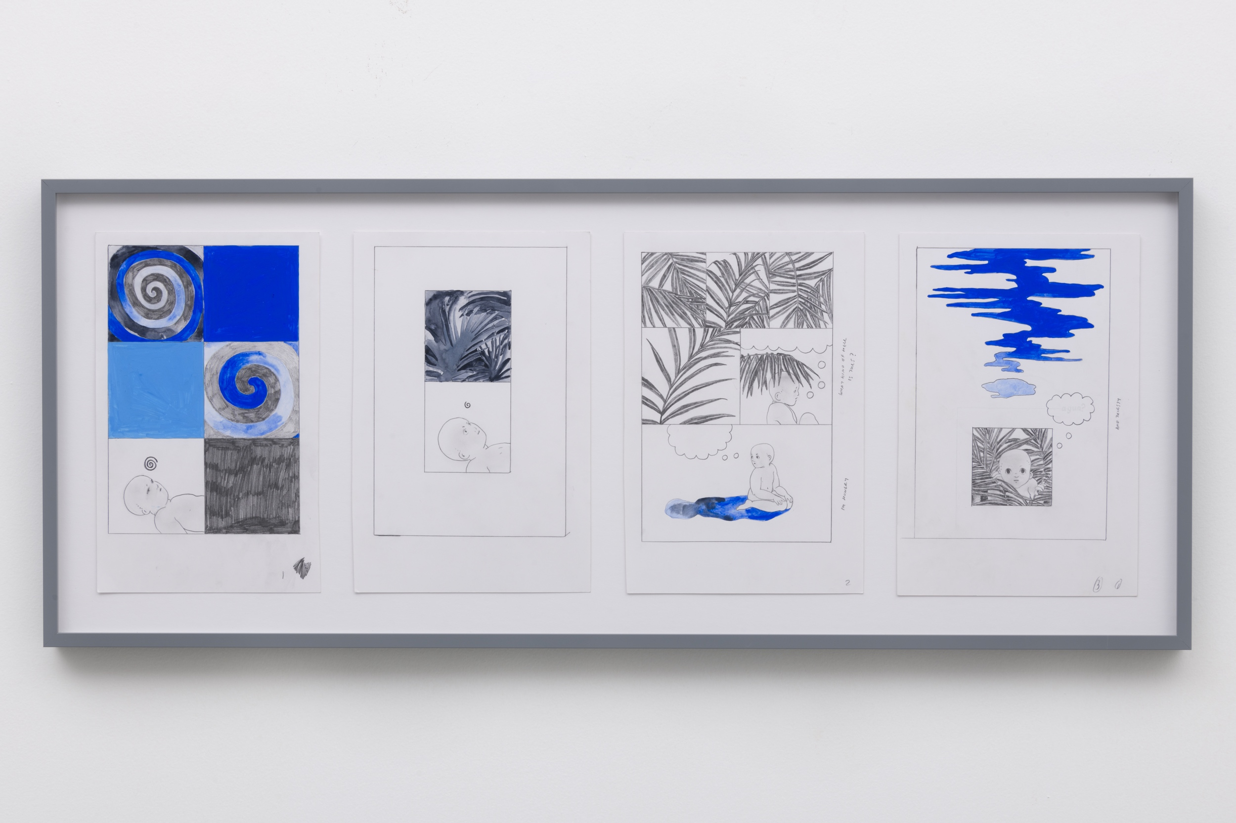 Aidan Koch,  Lagoon , 2018, gouache, watercolor, and graphite on paper, 14 × 34 ½ inches (35.6 × 87.6 cm)