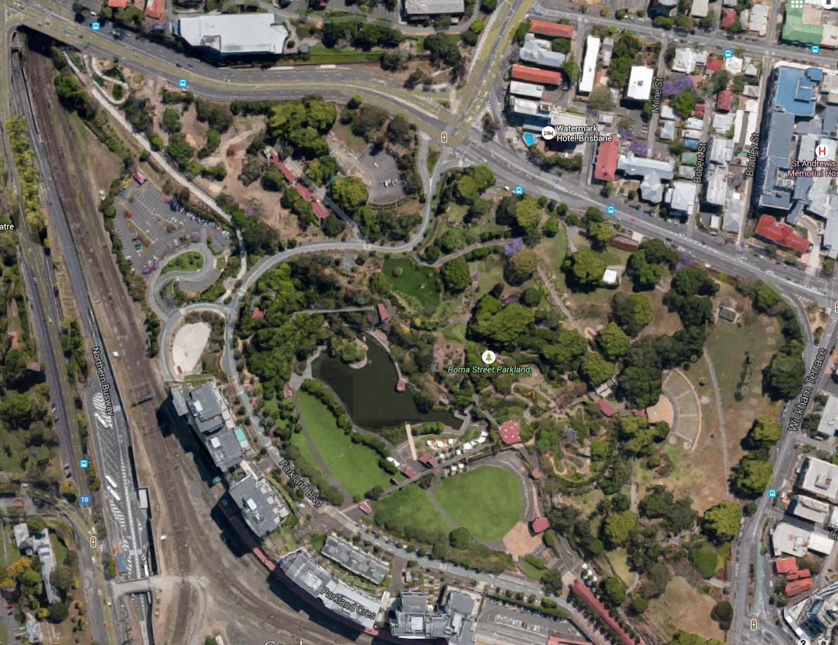 Study Site - Our main study site is Roma Street Parkland, which has a large population of 350+ dragons, each of which maintains a specific home range. Our study has shown that, like mammals, dragons have preferred associates or
