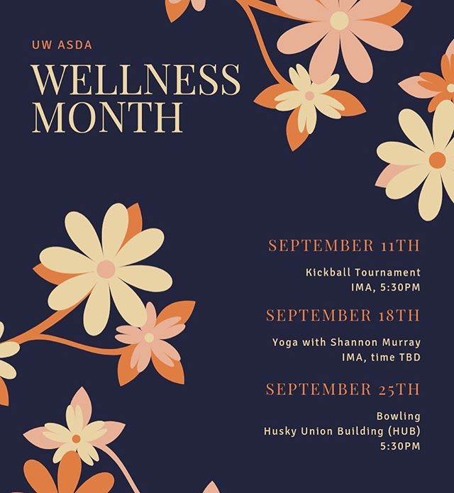 HAPPY SEPTEMBER! UW ASDA's presents Wellness Month! Come through to de-stress and loosen up from school w/ ASDA. 🤗😎 More information coming soon!