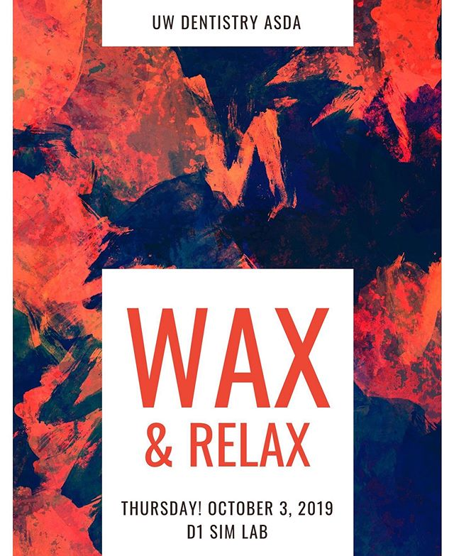 Come to the second Wax and Relax of the year this Thursday in D1 Sim Lab at 5:30PM!! Pizza will be provided 😍