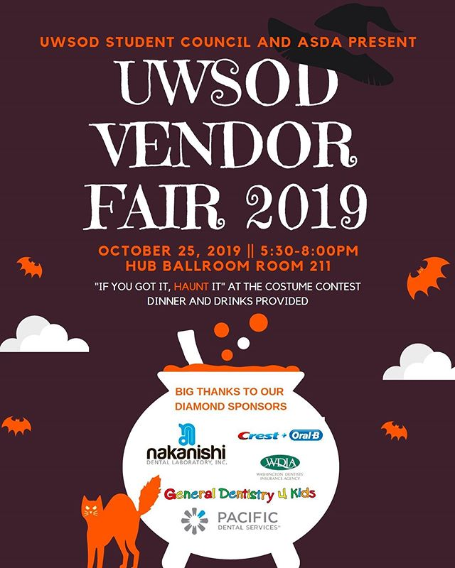 Please join Student Council and ASDA at the HUB Ballroom 211 October 25 from 5:30 to 8pm!  There will be food, drinks, and raffle items, as well as the opportunity to speak to vendors about their various products and services.  Come and wear your best costume!