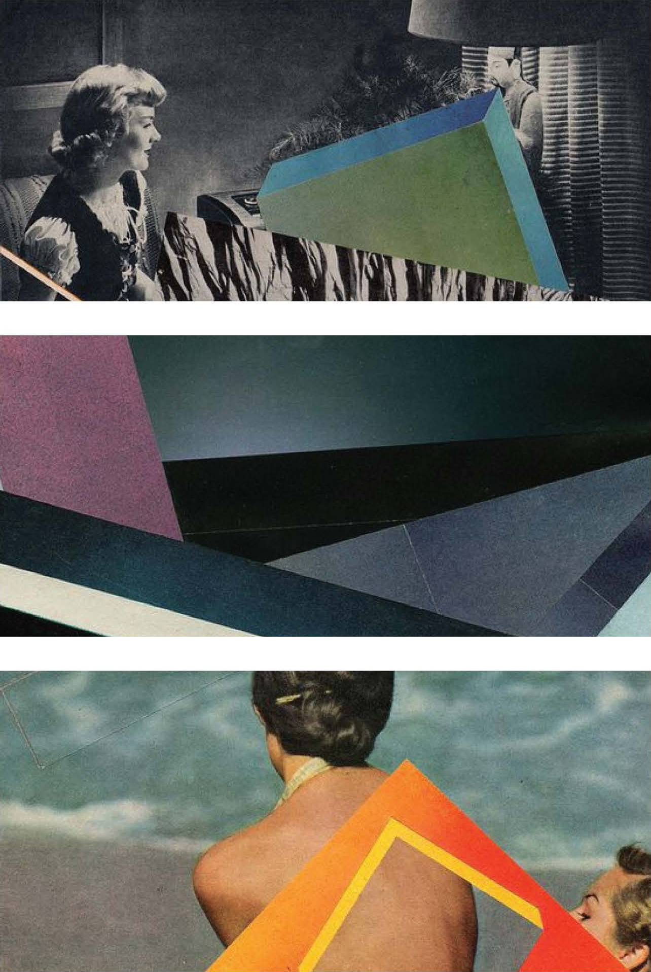 Style Inspiration:  The style images above are all cropped portions of collages that I've made. I'd like to use the geometric forms, smooth gradients, and vintage photography to convey themes of isolation, alienation, hypnagogic state.