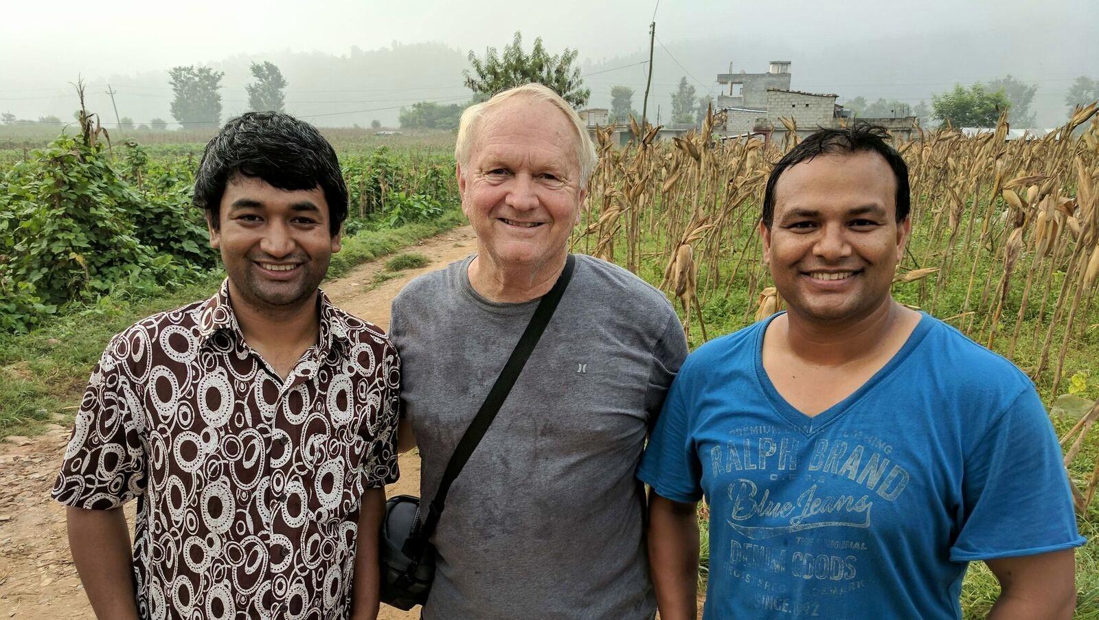 pray | go | arrive | smile | train | repeat.   Pastor Satya Suwal (L), Pastor Steve Larson (C), Pastor Beki (Bekharaj) Maharjan (R)