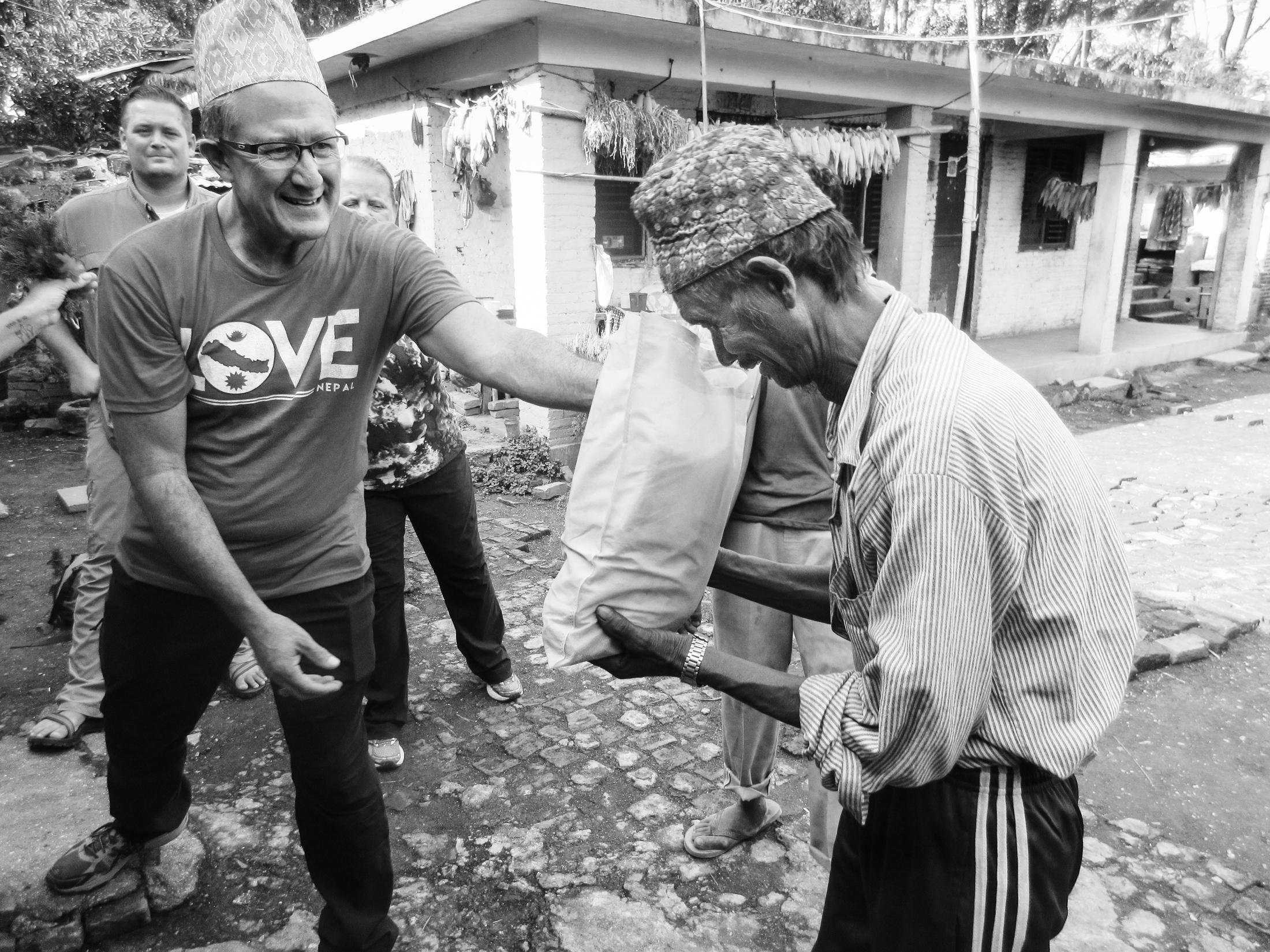 Tom Gallardo of Gallardo and Associates performing outreach in Khokana Leprosy Colony in Nepal.