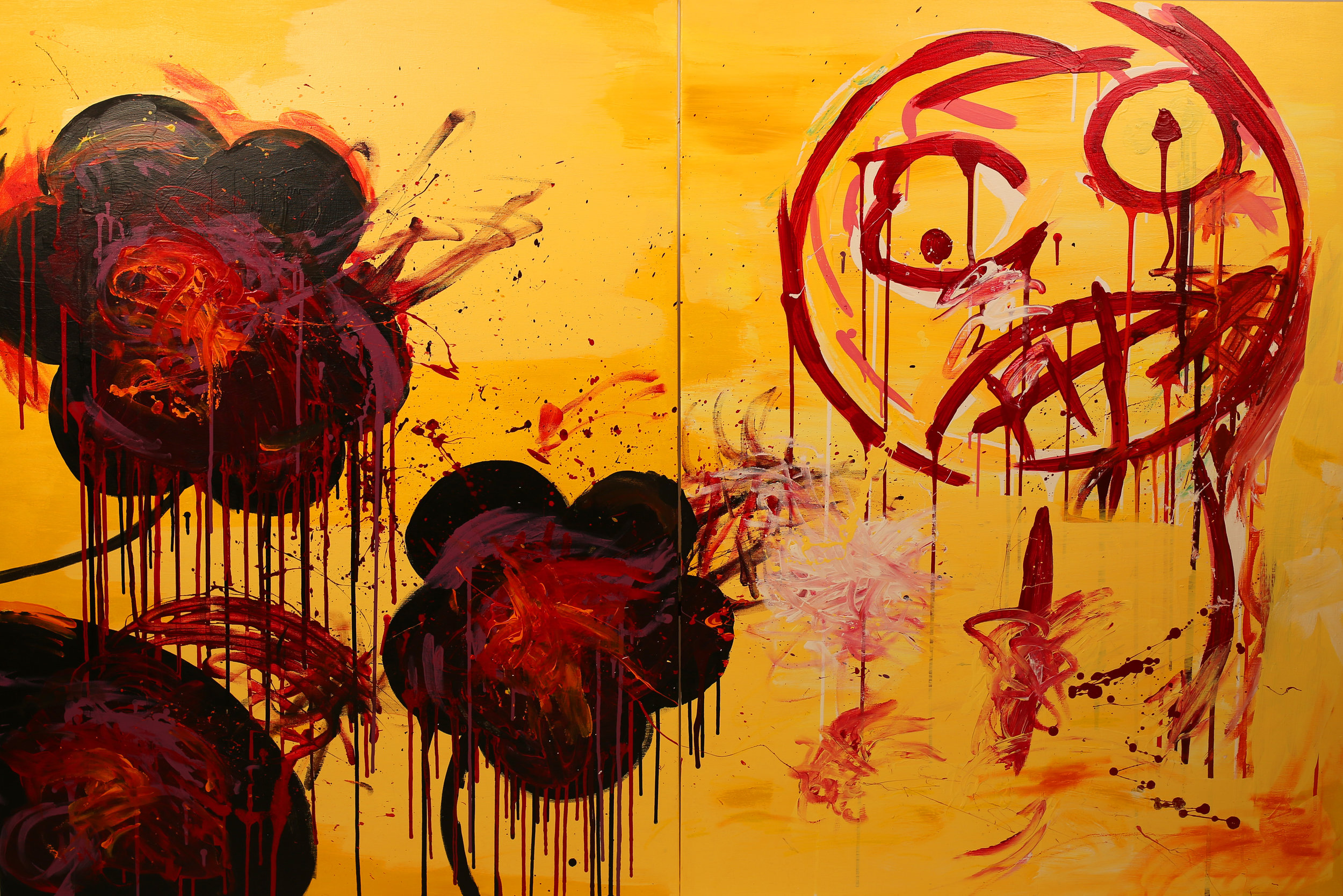 Fight.  Acrylic, pastel on canvas. 48 x 72 x 1 in. Executed in 2017.