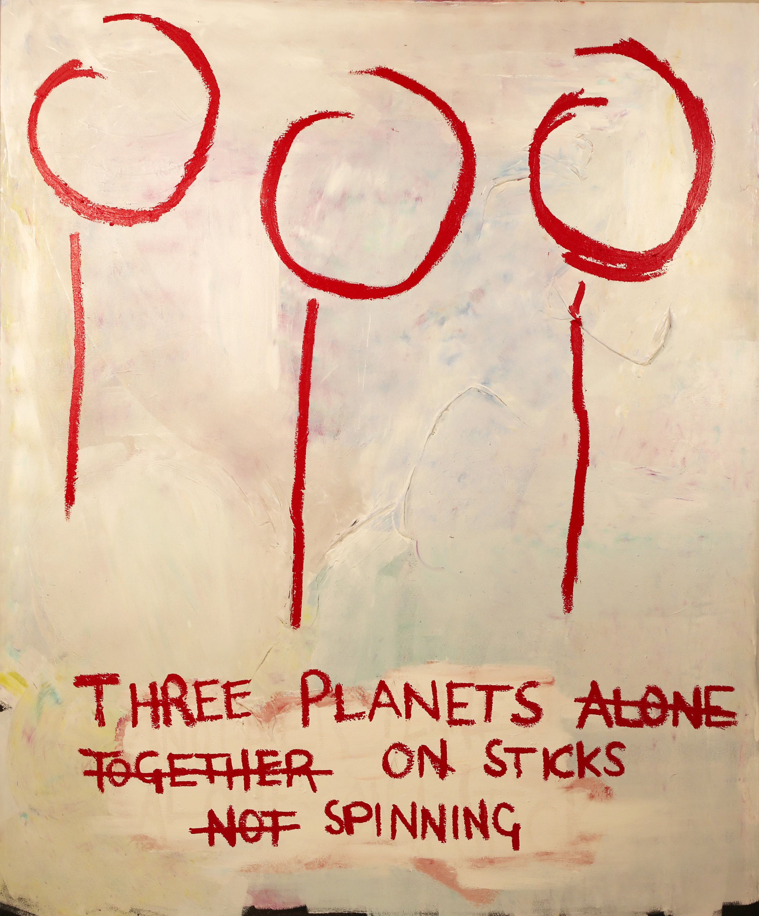 Three Planets.  Acrylic, spray paint, oil on canvas. 72 x 60 x 1 ½ in. Executed in 2018.
