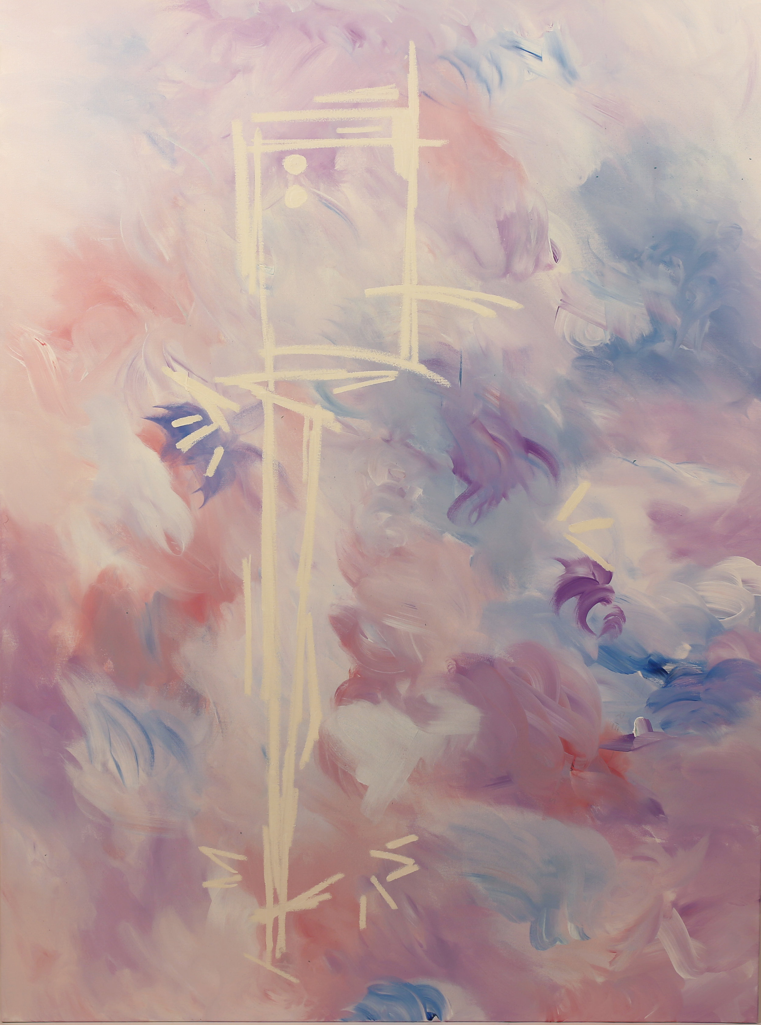 Machine gun rococo.  Acrylic, spray paint, oil on canvas. 48 x 36 x 1 ½ in. Executed in 2018.