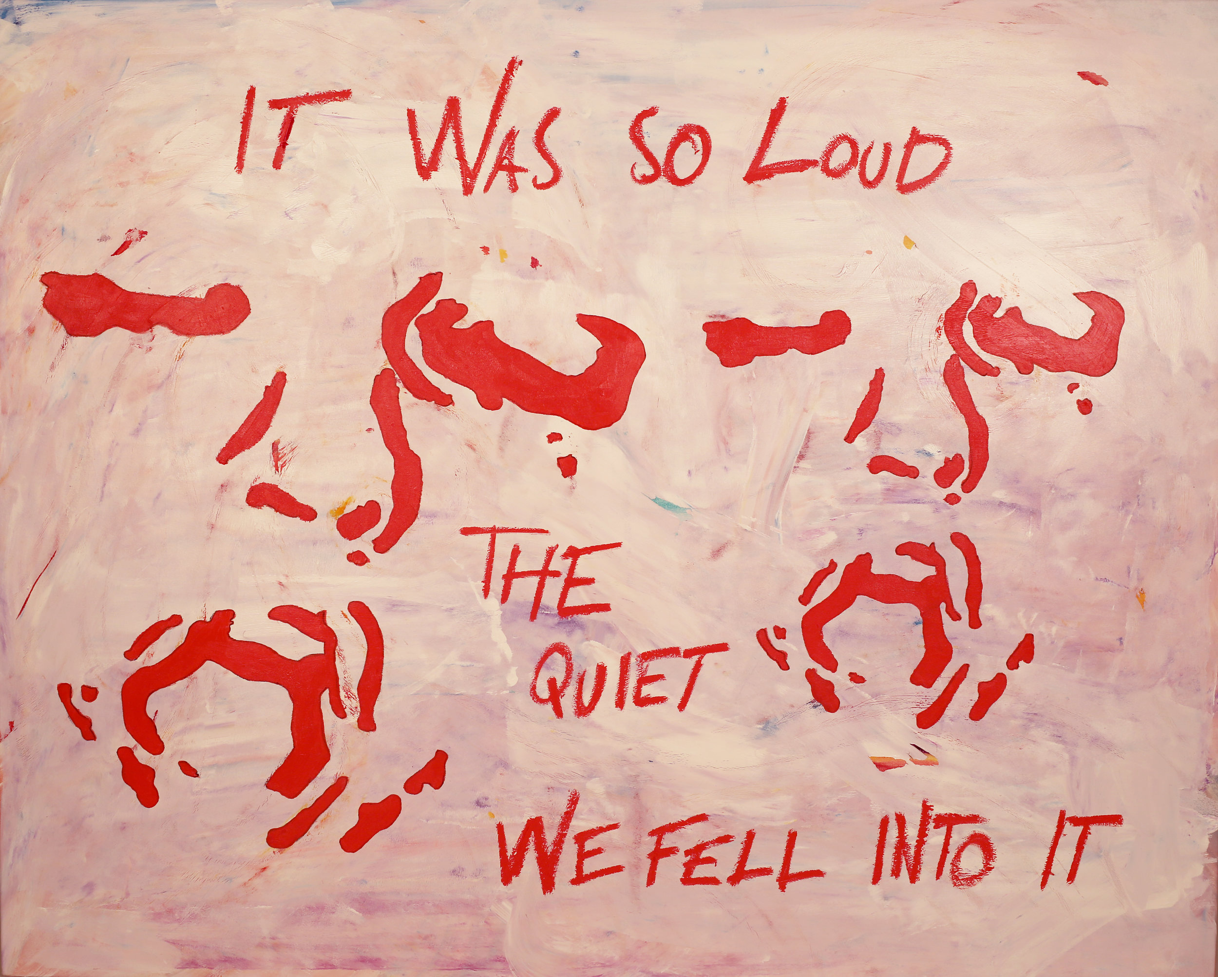 It was so loud.  Acrylic, oil on canvas. 48 x 60 x 1 ½ in. Executed in 2019.