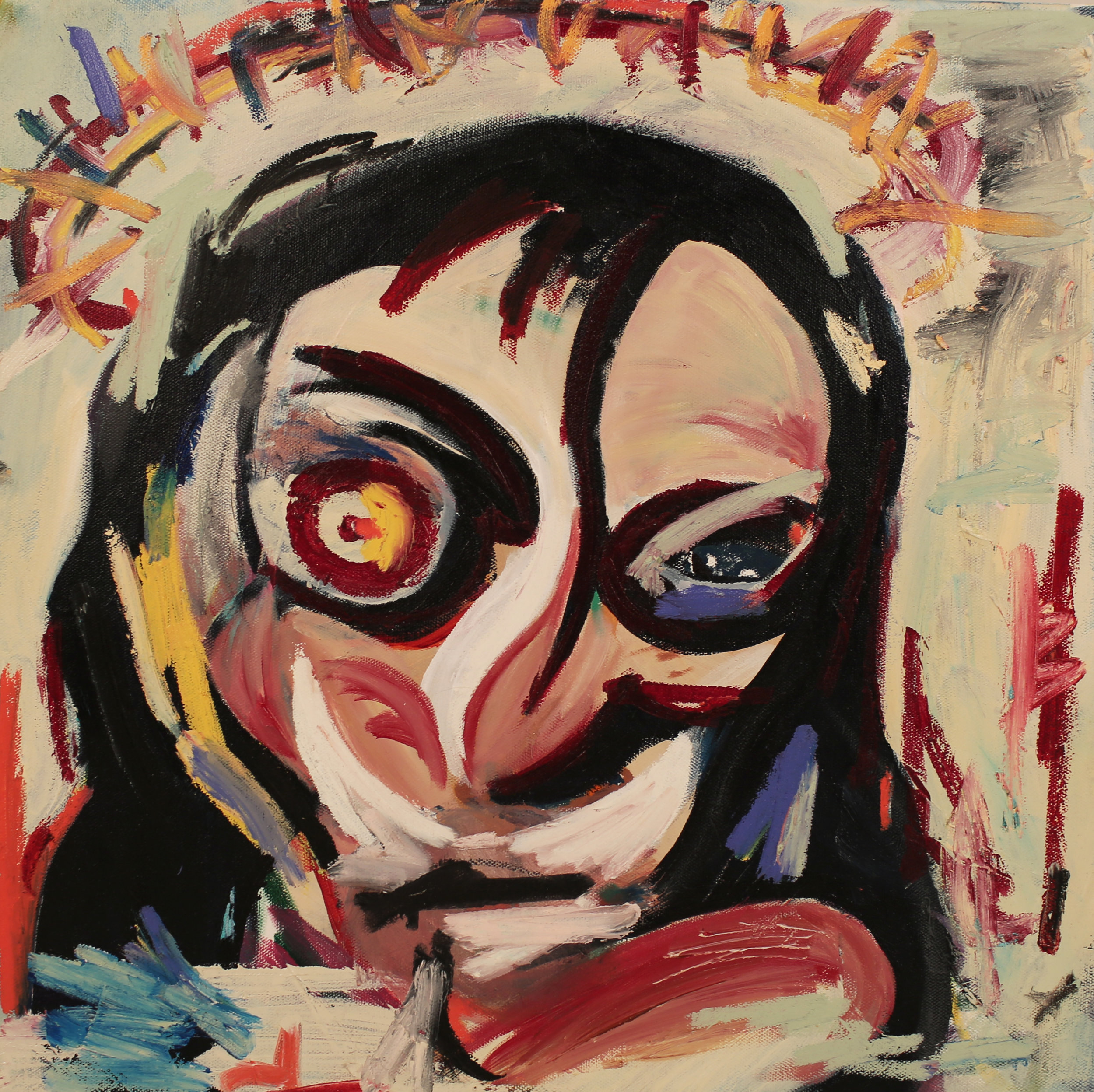 Eye behind Francis.  Oil, acrylic on canvas. 18 x 18 x 1 ½ in. Executed in 2019.