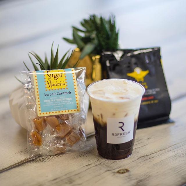Sea salt Caramels are a perfect pair with our sea salt latte! • • • • • #instafood #yum #cafemoto #coldbrewcoffee #r3freshjuicebar #eat #sugarmammacaramels #food #coldbrew #feelgoodfood #barriologan #local #love #sharefood #clean #socalliving #delicious #eating #foodpic #foodpics #lifestylegoals #hungry #convoystreet #sandiego #beachvibes #lookgoodfeelgood #photooftheday #fresh