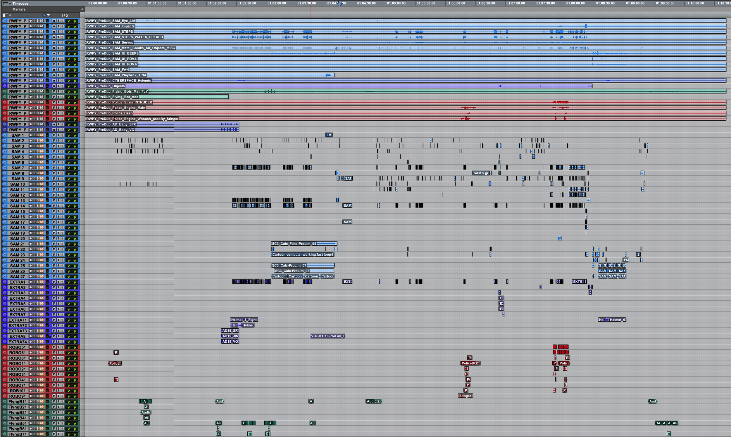 Final timeline in Pro Tools
